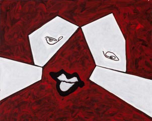 """Abstract White Face on Red"""